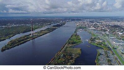 TV tower Riga city Drone flight, Zakusala island, Dugava river clouds