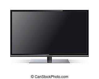 tv, tv, illustration, réaliste, lcd, vecteur