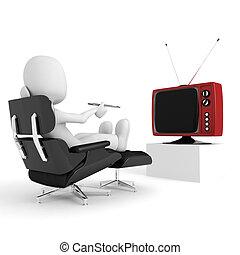 tv, uomo, 3d, osservare