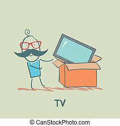 tv, uomo, comprato