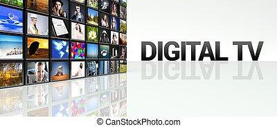 TV, vägg,  lcd,  video,  digital, paneler, teknologi