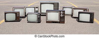 tv, vecchio, collezione, serie