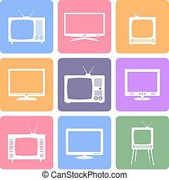 tv, vecteur, ensemble, icônes