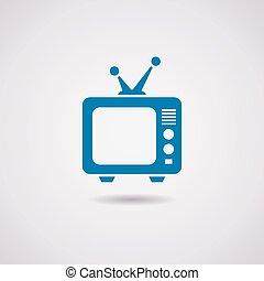 tv, vecteur, ensemble, retro, icône