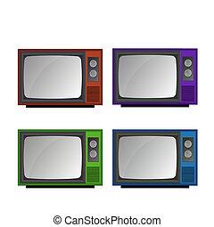 tv, vecteur, ensemble, retro, icônes