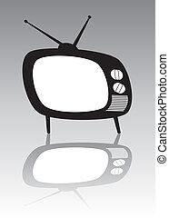 tv, vecteur, ensemble, retro