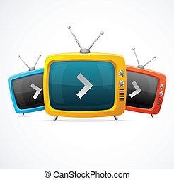 tv, vecteur, ensemble