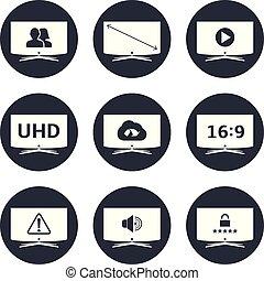 tv, vecteur, icônes