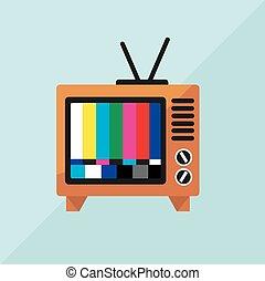 tv, vecteur, illustration, icône