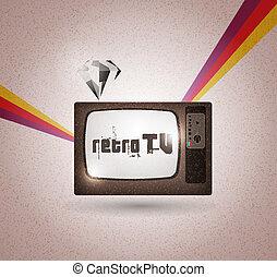 tv, vecteur, mignon, retro