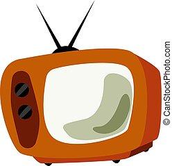 tv, vecteur, retro, blanc, illustration, arrière-plan.