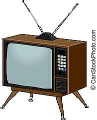 tv, vecteur, retro