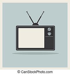 tv, vecteur, retro, crt, récepteur