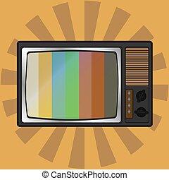 tv, vecteur, retro, illustration, icône