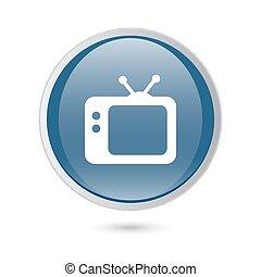 TV vector icon. Retro tv icon. blue glossy web icon