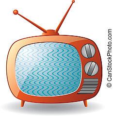 tv, vektor, állhatatos, retro