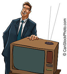 tv, vend, homme