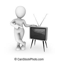 tv, vendange, blanc, homme, 3d