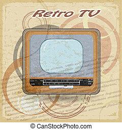 tv, vendange, démodé, fond