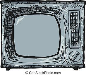 tv, vendange, ensemble
