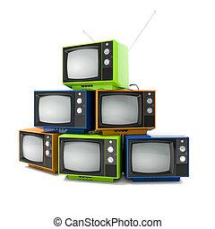tv, vendange, fond blanc, 3d