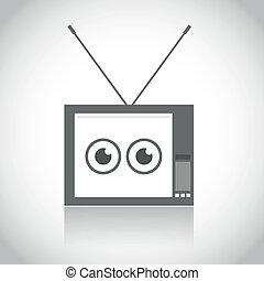 tv, vendange, icône
