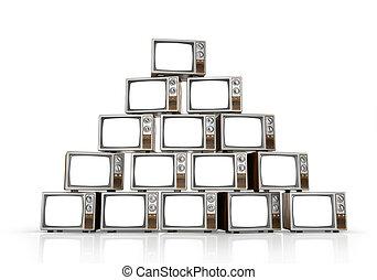 tv, vendange, illustration, arrière-plan., tas, blanc, 3d