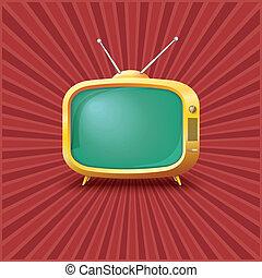 tv, vendange, jaune, arrière-plan.