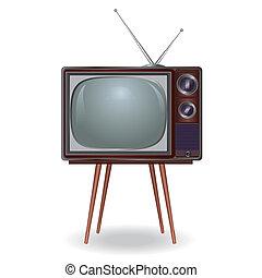 tv, vendemmia, isolato, realistico, fondo, retro., bianco