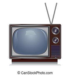tv, vendemmia, isolato, realistico, fondo, retro, bianco