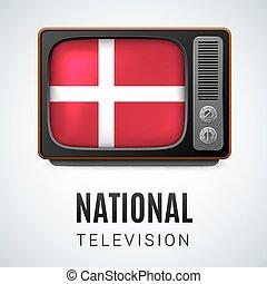 tv, vendemmia, simbolo, bandiera, nazionale, danimarca, television.