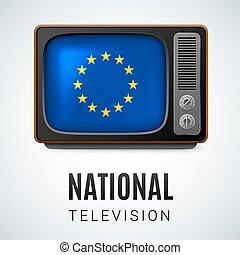 tv, vendemmia, simbolo, bandierina sindacato, bottone, nazionale, eu, television., europeo