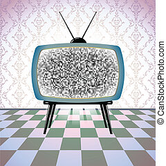 tv, vendemmia, stanza