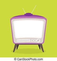 tv, vendemmia, viola, colore isolato, vettore