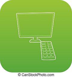 tv, vert, vecteur, éloigné, icône