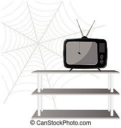 tv, vetorial, antigas, aranha