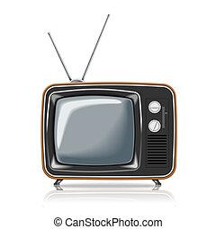 tv, vettore, retro