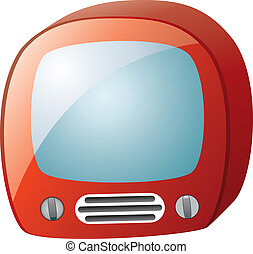 tv, vettore, set, retro