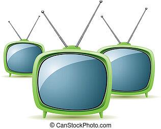 tv, vettore, verde, retro, serie