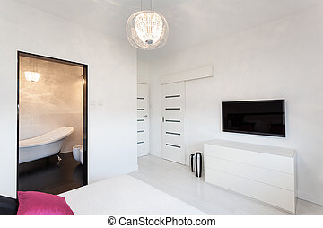 tv, vibrant, petite maison, -, chambre à coucher