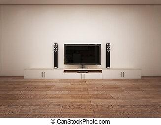 tv, vide, intérieur, salle