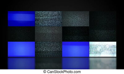 TV video wall with twelve television screen displaying noise...