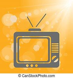 tv, vieux, fond, jaune