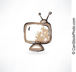 tv, vieux, grunge, icône