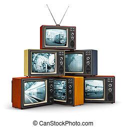 tv, vieux, pile