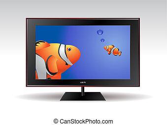tv, vissen, lcd, scherm, plat