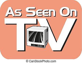 tv, visto, segno., vettore, illustration.