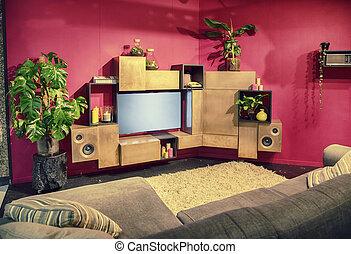 tv vive, sala, mobília