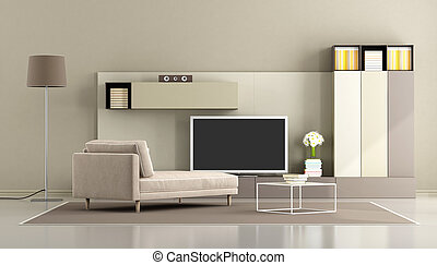 tv vivente, stanza moderna, unità