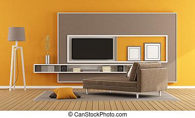 tv vivente, stanza, unità